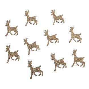 10 cerfs en bois à paillettes dorées...