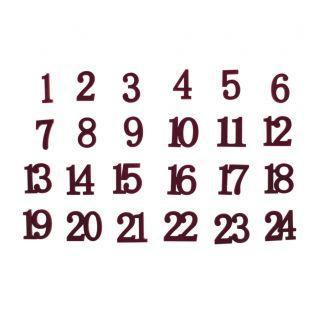 24 Numeri in legno e velluto rosso ø...