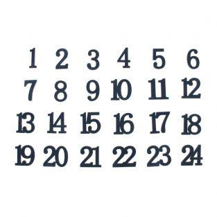 24 Zahlen in Holz und Samt marineblau...
