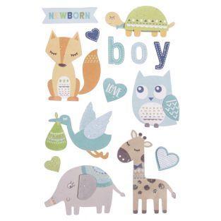 Stickers 3D naissance garçon