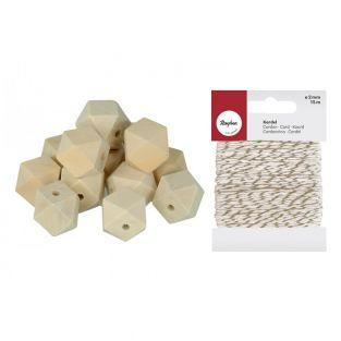 8 perline di legno poligonale 24 x 20...