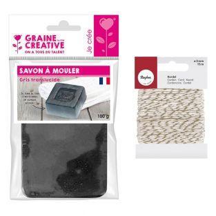 Molding soap 100 g Translucent gray +...