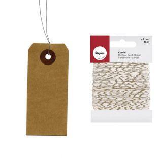 Etiquetas kraft con alambre + cordel...