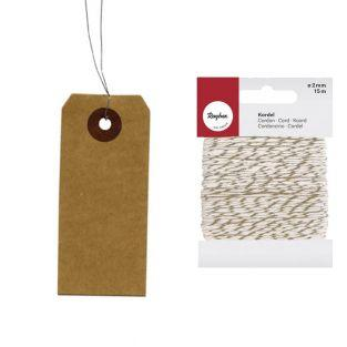 Kraft labels with metal wire + golden...