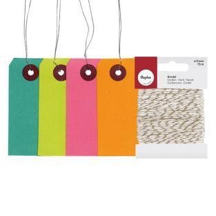 Etiquettes de couleur 9 cm avec fil...