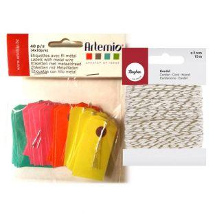 Mini Kraft color labels  + golden &...
