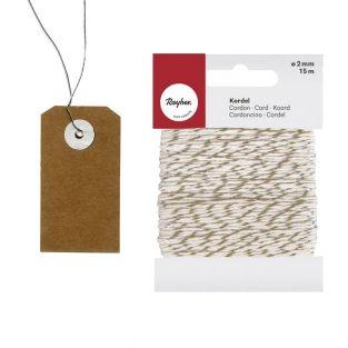 Etiquettes kraft 5,5 cm avec fil...