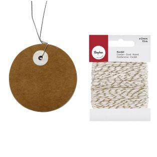 Round Kraft labels Ø 5 cm + golden &...