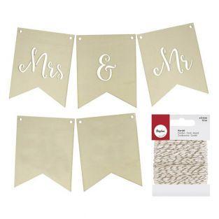 Fanions en bois mariage Mrs & Mr +...