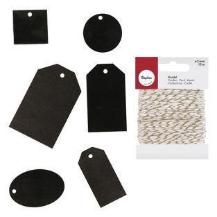 36 schwarze Holzetiketten +...