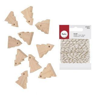 Guirnalda 10 abetos de madera 5 cm +...