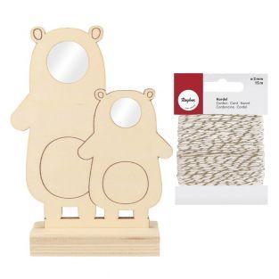 Cuadro de madera 20 x 14 2 osos +...
