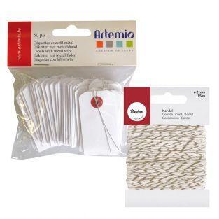 Weiße Mini-Etiketten mit Metallfaden...