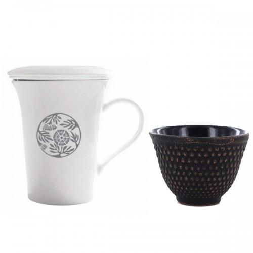 Tisanière + tasse noir & or