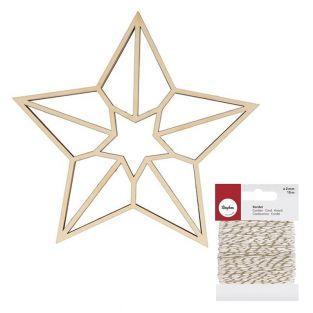Sagoma in legno origami stella a 5...