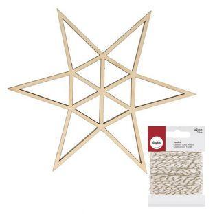 Sagoma in legno origami stella a 6...