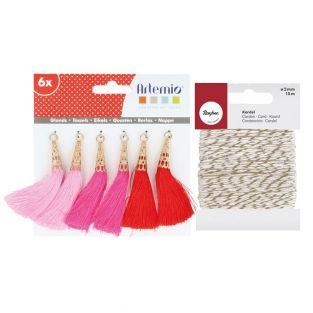 6 pink-fuchsia-red tassels + golden &...