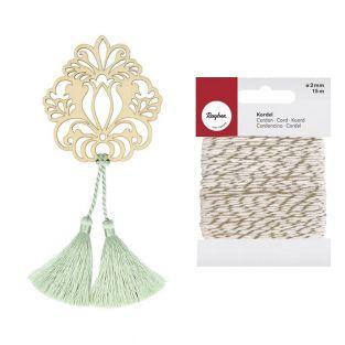 Motif bois Fleur & 2 pompons vert...