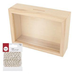 Tirelire cadre en bois 12 x 17 cm +...