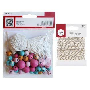 Kit perline legno con colori e filo...