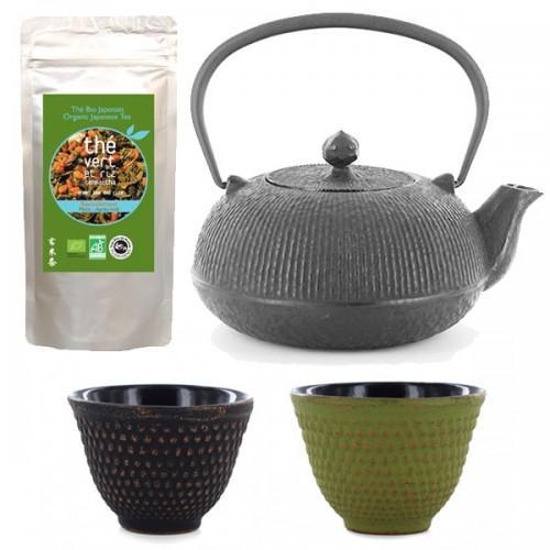 Cast iron Tea-pot + 2 cups + Genmaicha Tea