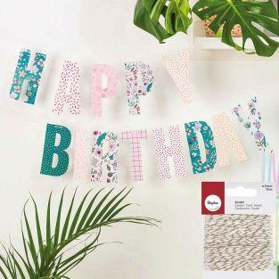 Guirlande Happy Birthday thème floral...