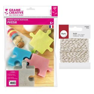 Mini Soap mold Puzzle + golden &...