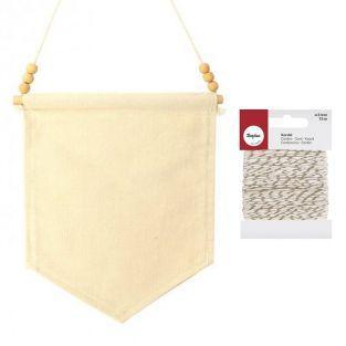 Fanion toile et ses perles 26 x 20 cm...