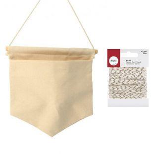 Leinwand-Wimpel mit Tasche 21 x 20 cm...