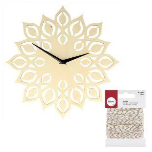Wooden flower clock Ø 30 cm + golden...