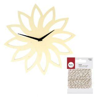Wooden sun clock Ø 30 cm + golden &...