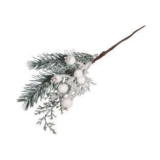 Rama navideña nevada con bayas 31 cm