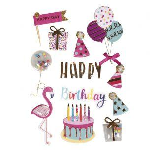 Stickers 3d foil oil Happy Birthday
