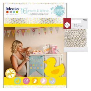Caja para Babyshower + cordel dorado...