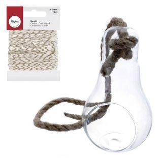 Vase Glühbirne mit Seil + Weiß-Golden...