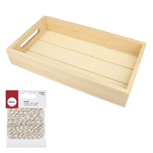 Rectangular wooden tray 30 x 17 x 5...