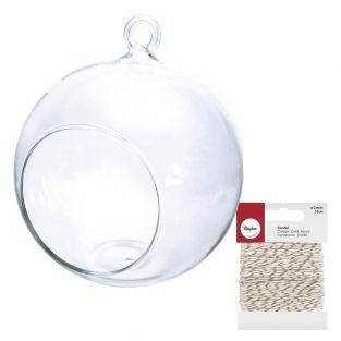 Open glass ball 8 cm + golden & white...