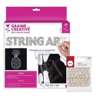 Cuadro negro de madera String Art...