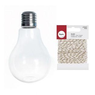 Vase ampoule 12 cm + Ficelle dorée &...