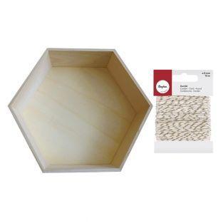 Etagère hexagonale bois 30 x 26 cm +...