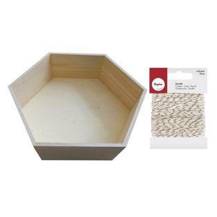 Etagère hexagonale bois 36 x 31 cm +...