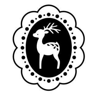 Tampon bois - Médaillon Renne