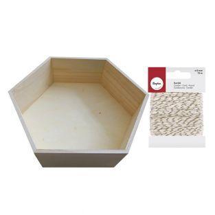 Etagère hexagonale bois 39 x 34 cm +...