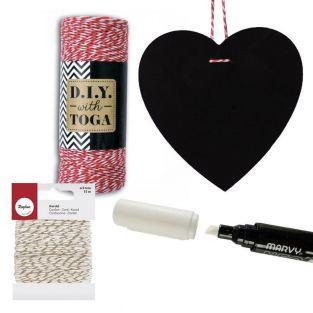 Heart slate + chalk marker + red &...