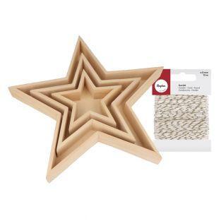 3 plateaux en bois étoiles + Ficelle...