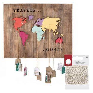 Hölzerne Weltkarte zum Verzieren 42 x...