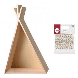 Grande étagère tipi en bois 45 cm +...