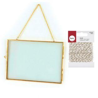 Vintage glass frame rectangle with...