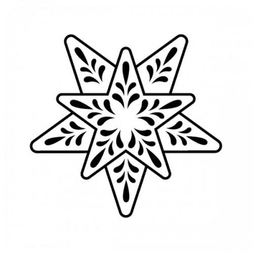 Wooden stamp - Snowflake 10 branches