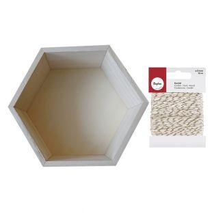 Etagère hexagone bois 24 x 21 cm +...